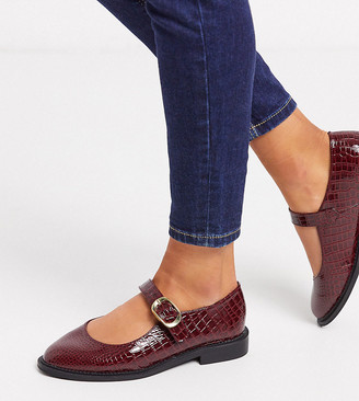ASOS DESIGN Wide Fit Ven mary jane flat shoes in burgundy