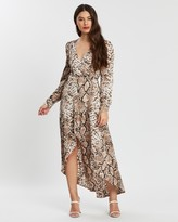 Missguided High-Low Wrap Midi Long Sleeve Snake Dress