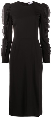 RED Valentino Ruffle-Detail Long-Sleeved Dress