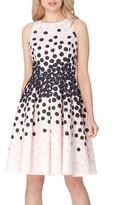 Tahari Petite Women's Polka Dot Fit & Flare Dress