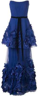 Marchesa Notte Mixed-Media Texture Tiered Gown