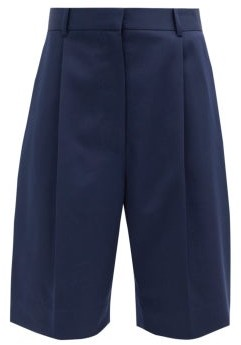 The Row Marco Pleated Cotton-serge Shorts - Navy
