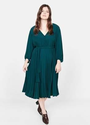 MANGO Violeta BY Pleated midi dress emerald green - 10 - Plus sizes