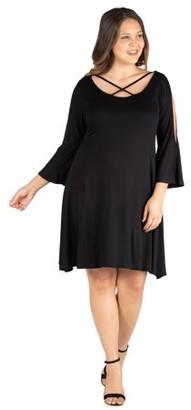 24/7 Comfort Apparel 24/7 Women's Plus Size Comfort Apparel Criss Cross Neckline Cold Shoulder Plus Size Dress