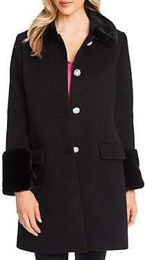CeCe Faux-Fur Trim Coat