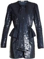 ATTICO Luna peplum-waist sequin-embellished mini dress
