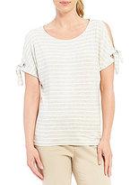 Calvin Klein Grommet Trim Split Tie Sleeve Stripe Knit Jersey Top