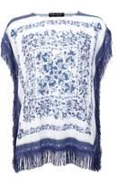 Select Fashion Fashion Womens Blue Paisley Fringe Top - size 10