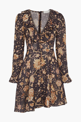 Zimmermann Veneto Ruffle-trimmed Floral-print Linen Mini Dress