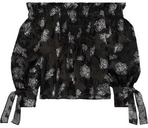 Rebecca Taylor Off-the-shoulder Shirred Fil Coupe Silk-blend Blouse