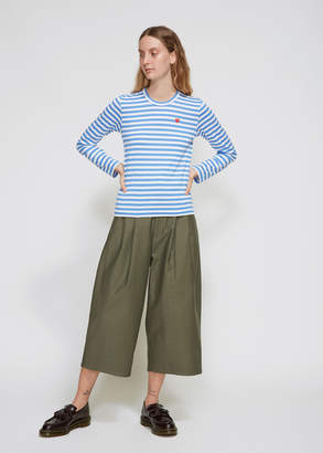 Comme des Garcons Women's Long Sleeve Small Red Heart T-Shirt in White/Blue Stripe 100% Cotton