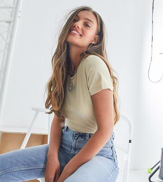 ASOS DESIGN Petite ultimate organic cotton crew neck t-shirt in stone