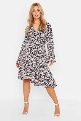 boohoo Plus Wrap Front Leopard Print Ruffle Hem Midi Dress