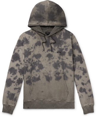 Stussy Logo-Embroidered Tie-Dyed Fleece-Back Cotton-Jersey Hoodie