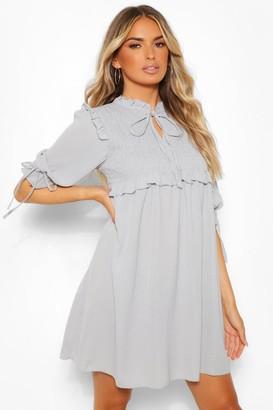 boohoo Woven Long Sleeve Shirred Smock Dress