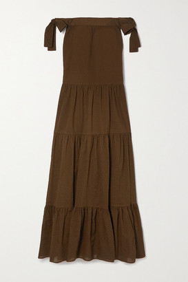 Marysia Swim Starfish Off-the-shoulder Tiered Textured-cotton Maxi Dress - Brown