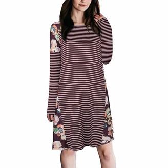 Kolila Women Dress kolila 2019 Women's Floral Print Long Sleeve Boho Empire Waist Midi Dress Casual Stripe Simple T-Shirt Loose Dress(003Wine M)