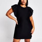 River Island Plus black frill short sleeve mini dress