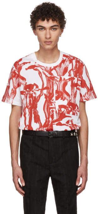 Givenchy White and Red Iris Pocket T-Shirt