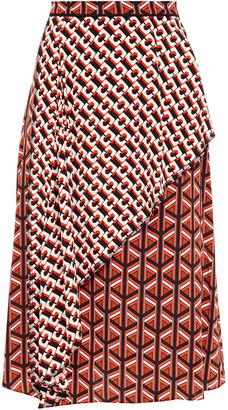 Diane von Furstenberg Draped Printed Silk Crepe De Chine Skirt
