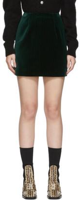 ALEXACHUNG Green Velvet Striped B-Line Miniskirt