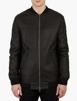 Yves Salomon Black Leather Shearling Bomber Jacket