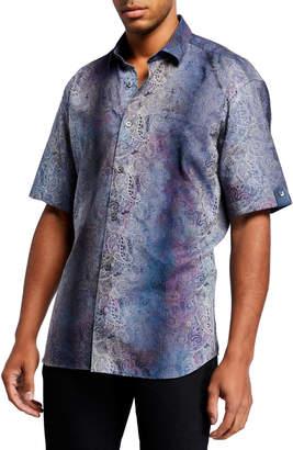 Maceoo Men's Shaped-Fit Galileo Paisley Short-Sleeve Sports Shirt
