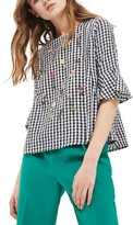 Topshop Women's Embroidered Gingham Top