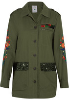 SteveJ & YoniP Steve J & Yoni P - Embroidered Sequined Cotton-blend Jacket - Army green