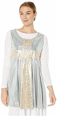 Clementine Praise & Liturgical Women's Plus Size CLP-BW-545XX-SLEEVLESS Tunic Silver/Gold 4X