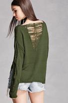 Forever 21 Open-Knit V-Neck Sweater