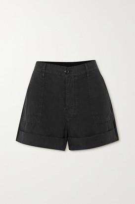 Frame Le Beau Linen Shorts - Black