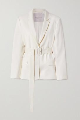 ENVELOPE1976 Net Sustain Pfeiffer Belted Wool-crepe Blazer - Cream