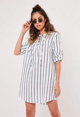 Missguided White Stripe Tie Detail Mini Shirt Dress