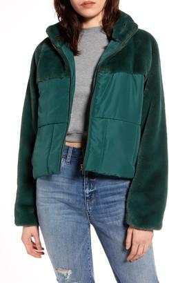 BP Faux Fur Contrast Puffer Jacket