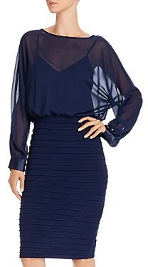 Adrianna Papell Sheer Blouson Dress