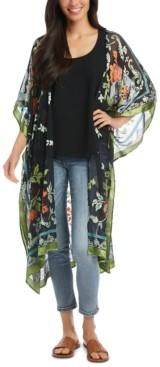 Karen Kane Textured Floral-Print Kimono Duster