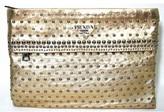 Prada excellent (EX Studded Gold Leather Large Clutch Bag