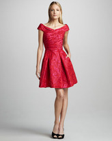 Theia Ruched Jacquard Cocktail Dress