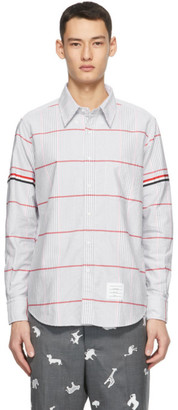Thom Browne White Oversized Check RWB GG Armband Straight-Fit Oxford Shirt