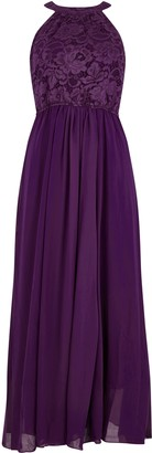 Wallis **Jolie Moi Dark Purple Lace Maxi Dress
