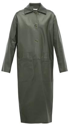 Inès & Marèchal Famous Single Breasted Leather Coat - Womens - Dark Green