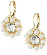 Anne Klein Gold-Tone Pearl and Crystal Drop Earrings