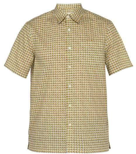 9bf4e337 Circle Print Short Sleeved Cotton Shirt - Mens - Yellow Multi