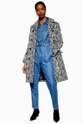 Topshop Womens Zebra Print Coat - Monochrome