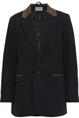 Current/Elliott The Calla Leopard Print-trimmed Cotton And Wool-blend Blazer