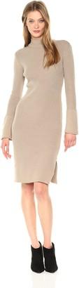 EVIDNT Women's Slit Detailed High Neck Sweater Dress