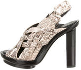 Calvin Klein Collection Snakeskin Multistrap Sandals