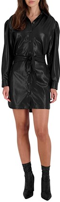 BB Dakota Faux Nelly Dress (Black) Women's Clothing
