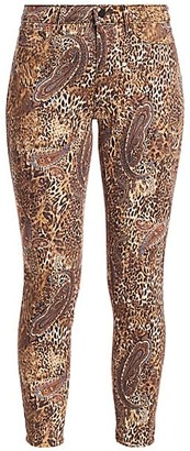 L'Agence Margot High-Rise Print Ankle Skinny Paisley Leopard Jeans